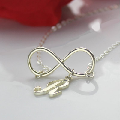 Infinity Necklaces with Initial Letter Charm Silver - The Name Jewellery™