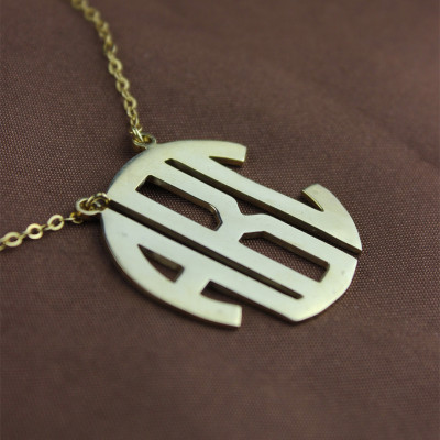Solid Gold 18ct Initial Block Monogram Pendant Necklace - The Name Jewellery™