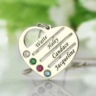 Personalised Mothers Heart Necklace Gift with Birthstone  Name - The Name Jewellery™