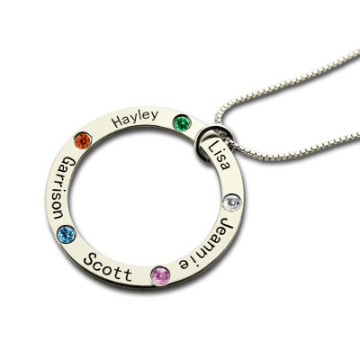 Mothers Family Circle Name Necklace Engraved Birthstone Silver - The Name Jewellery™