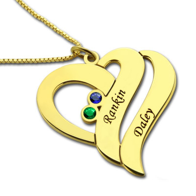 Two Hearts Forever One Love Necklace 18ct Gold Plated - The Name Jewellery™