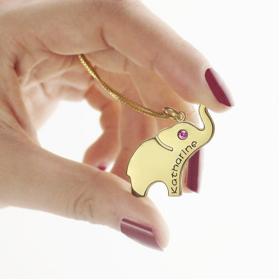 Elephant Lucky Charm Necklace Engraved Name 18ct Gold Plated - The Name Jewellery™