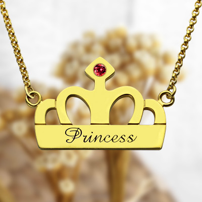 Princess Crown Charm Necklace with Birthstone  Name 18ct Gold Plated - The Name Jewellery™
