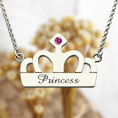 Crown Charm Neckalce with Birthstone  Name Sterling Silver - The Name Jewellery™