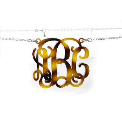 Tortoise Acrylic Monogram Necklace - The Name Jewellery™
