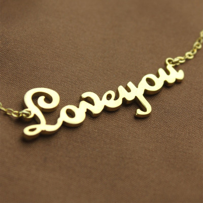 Personalised 18ct Gold Plated French Font I Love You Name Necklace - The Name Jewellery™