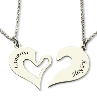 Personalised Breakable Heart Name Necklace for Couples Silver - The Name Jewellery™