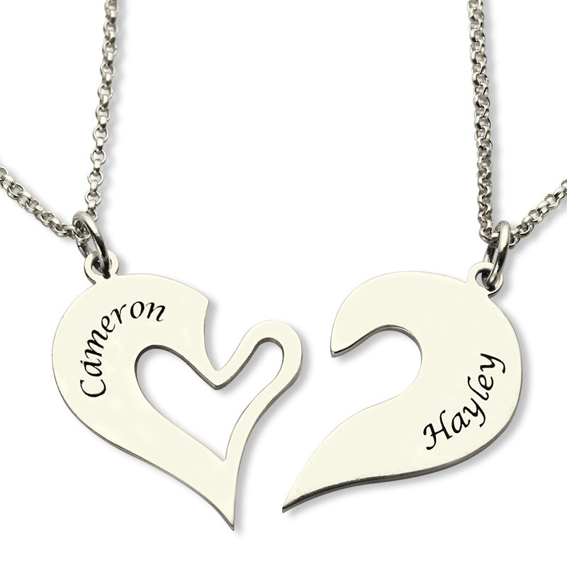 f34132ceb6 Personalised Breakable Heart Name Necklace for Couples Silver - The Name  Jewellery™