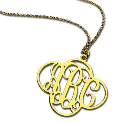 Personalised Cut Out Clover Monogram Necklace 18ct Gold Plated - The Name Jewellery™
