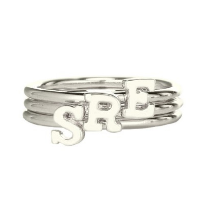 Personalised Women's Midi Initial Ring Sterling Silver - The Name Jewellery™