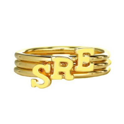 Custom Midi Initial Letter Ring 18ct Gold Plated - The Name Jewellery™