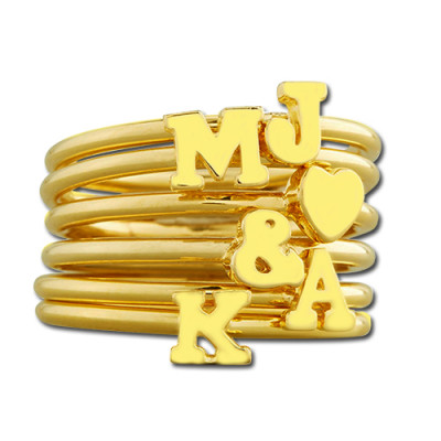 Stackable Initial Ring 18ct Gold Plated - The Name Jewellery™