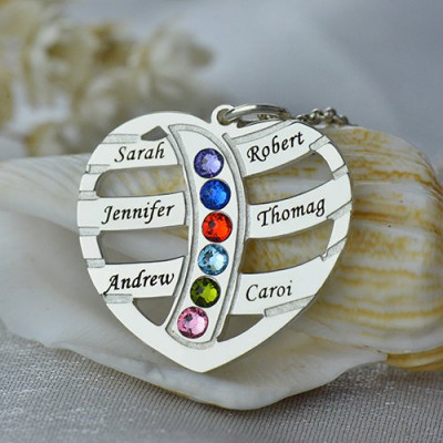 Moms Necklace With Kids Name  Birthstone In Sterling Silver - The Name Jewellery™