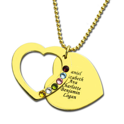 Heart Birthstones Necklace For Mother In Gold - The Name Jewellery™