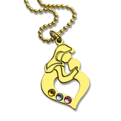 Personalised Mother Child Necklace with Birthstone Gold Plated Silver - The Name Jewellery™