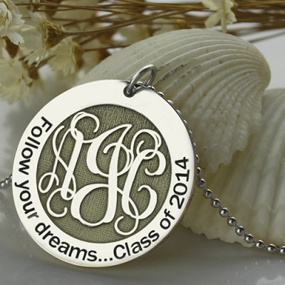 Personalised Class Graduation Monogram Necklace Sterling Silver - The Name Jewellery™