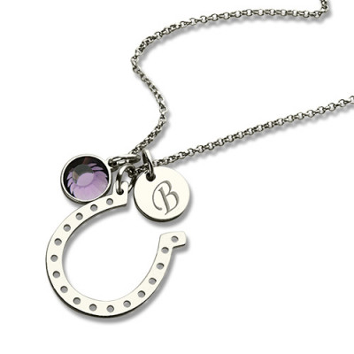 Horseshoe Good Luck Necklace with Initial  Birthstone Charm - The Name Jewellery™