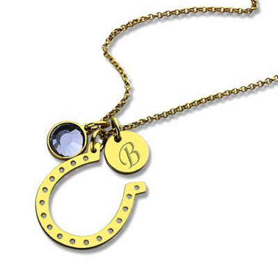 Birthstone Horseshoe Lucky Necklace with Initial Charm 18ct Gold Plate - The Name Jewellery™