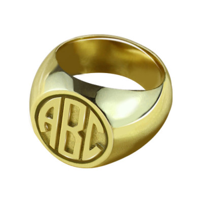 Customised Signet Ring with Block Monogram 18ct Gold Plated - The Name Jewellery™
