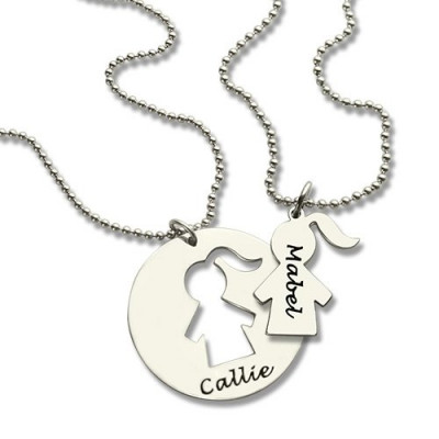 Mother Daughter Necklace Set Engraved Name Sterling Silver - The Name Jewellery™