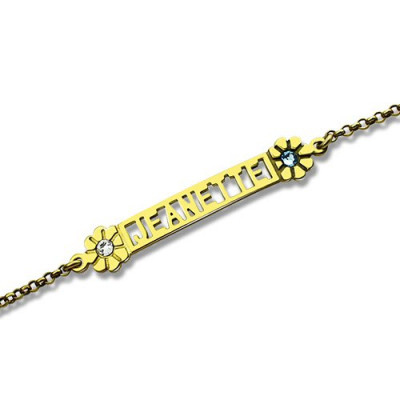 Personalised Birthstone Name Bracelet for Her 18ct Gold Plated - The Name Jewellery™