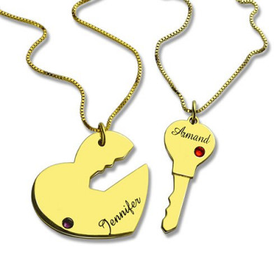 Key to My Heart Couple Name Pendant Necklaces Gold - The Name Jewellery™