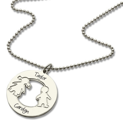 Circle Necklace With Engraved Children Name Charms Sterling Silver - The Name Jewellery™