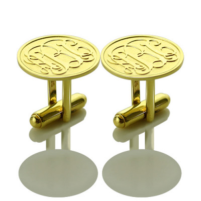 Engraved Cufflinks with Monogram 18ct Gold Plated - The Name Jewellery™