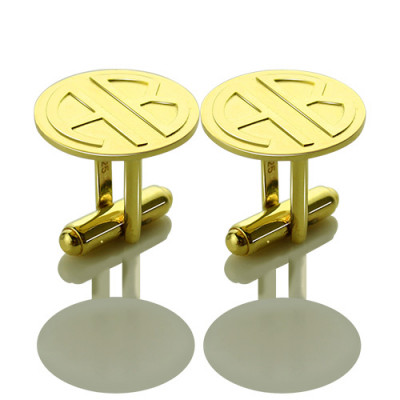 Cufflinks for Men with Block Monogram 18ct Gold Plated - The Name Jewellery™