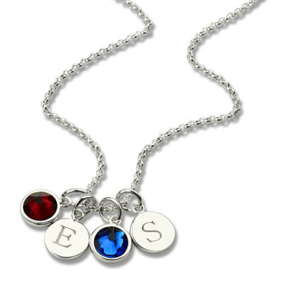 Personalised Double Initial Charm Necklace with Birthstone - The Name Jewellery™