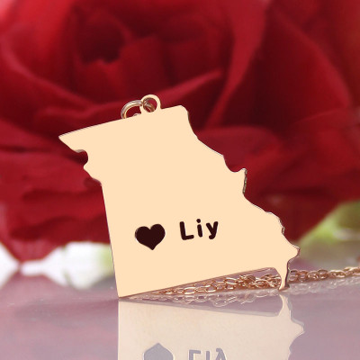 Custom Missouri State Shaped Necklaces With Heart  Name Rose Gold - The Name Jewellery™