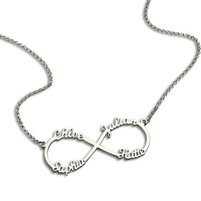 Sterling Silver Infinity Symbol Necklace 4 Names - The Name Jewellery™