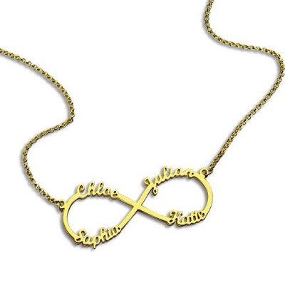 Custom 18ct Gold Plated Infinity Necklace 4 Names - The Name Jewellery™