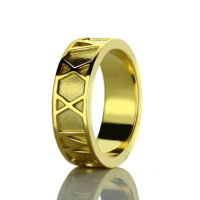 1c2907cf0 18ct Gold Plated Roman Numeral Date Rings - The Name Jewellery™
