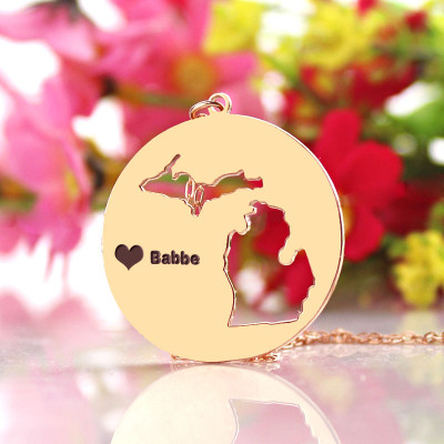 Custom Michigan Disc State Necklaces With Heart  Name Rose Gold - The Name Jewellery™