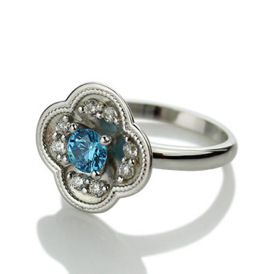 Birthstone Blossoming Love Engagement Ring Sterling Silver - The Name Jewellery™