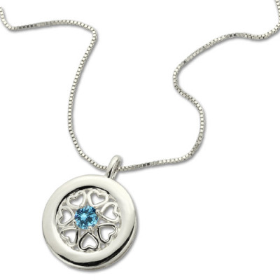 Birthstone Hearts All Around Pendant Necklace Sterling Silver - The Name Jewellery™