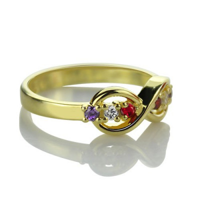 18ct Gold Plated Infinity Promise Rings with Birthstone - The Name Jewellery™