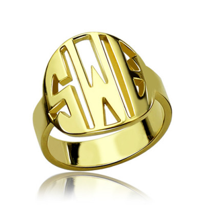 Personalised Block Circle Monogram Ring 18ct Gold Plated - The Name Jewellery™