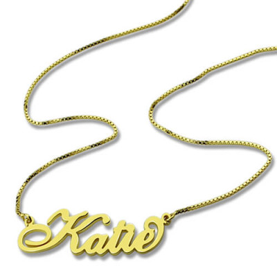 Personalised Necklace Nameplate Carrie in 18ct Gold Plated - The Name Jewellery™