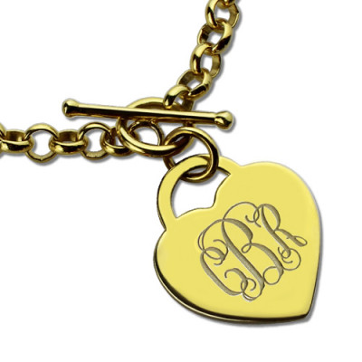 Heart Monogram Initial Charm Bracelets In 18ct Gold Plated - The Name Jewellery™