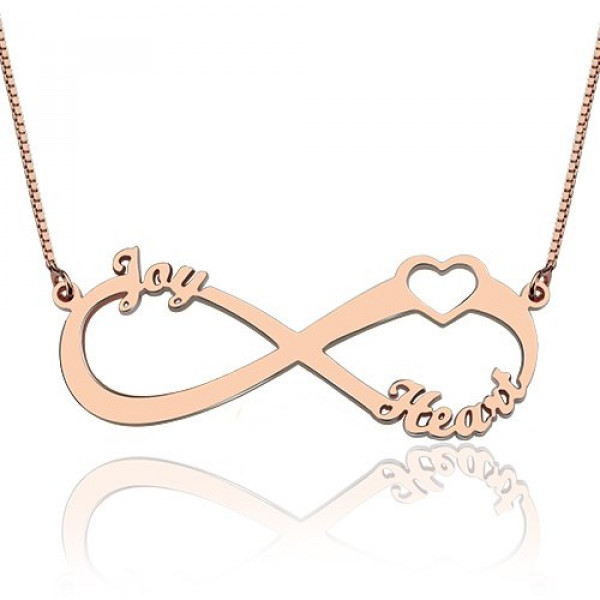 Heart Infinity Necklace 3 Names 18ct Rose Gold Plated - The Name Jewellery™