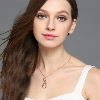 Vertical Infinity Sign Necklace with Birthstones 18ct Rose Gold Plated - The Name Jewellery™