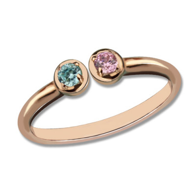 Dual Birthstone Ring 18ct Rose Gold Plated Silver - The Name Jewellery™