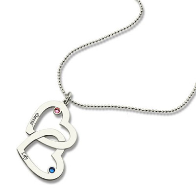 Double Heart Necklace with Name  Birthstones Sterling Silver - The Name Jewellery™