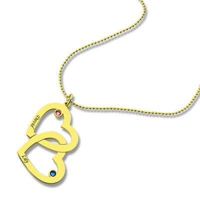 Custom Birthstone Heart in Heart Name Necklace 18ct Gold Plated - The Name Jewellery™