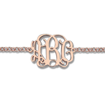 Rose Gold Plated Silver Monogram Bracelet - The Name Jewellery™