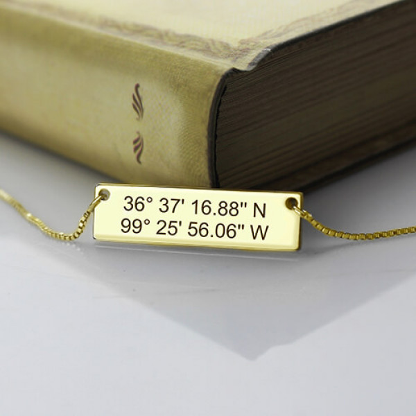Gps Coordinates Necklace: GPS Map Nautical Coordinates Necklace Gold Plated