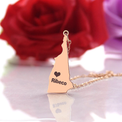 Custom New Hampshire State Shaped Necklaces With Heart  Name Rose Gold - The Name Jewellery™