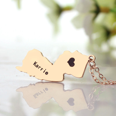 Custom New Jersey State Shaped Necklaces With Heart  Name Rose Gold - The Name Jewellery™